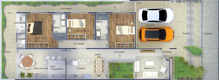 Planta de casa moderna com 3 quartos
