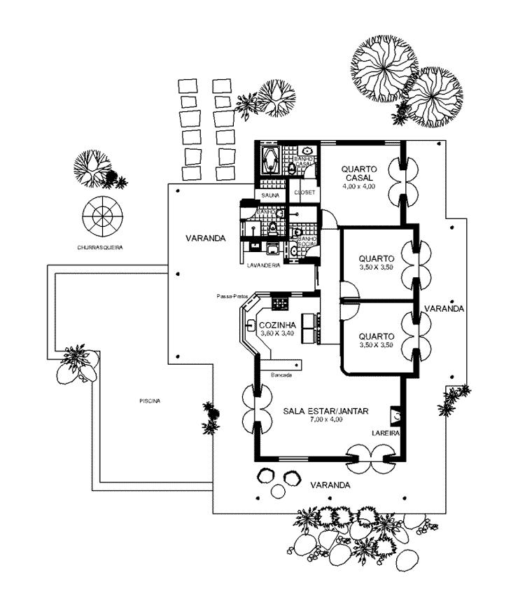 Planta simples da casa rústica