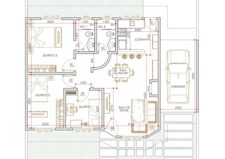 Plantas de casas 105 modelos projetos e fotos for Plantas de casas tipo 3 modernas