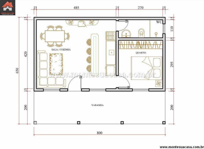 de edícula simples com dormitório incluso Planta de projeto de  #A73A24 1200 876