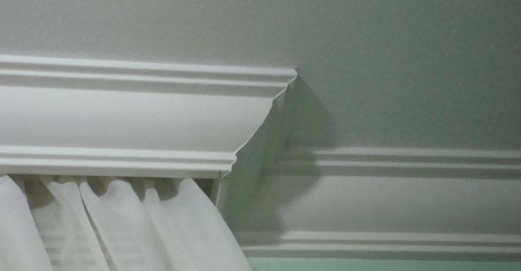 Modelo de sanca de gesso convexa com acabamento para cortina
