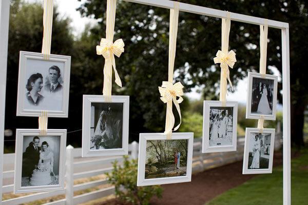Varal de fotos para festa de casamento