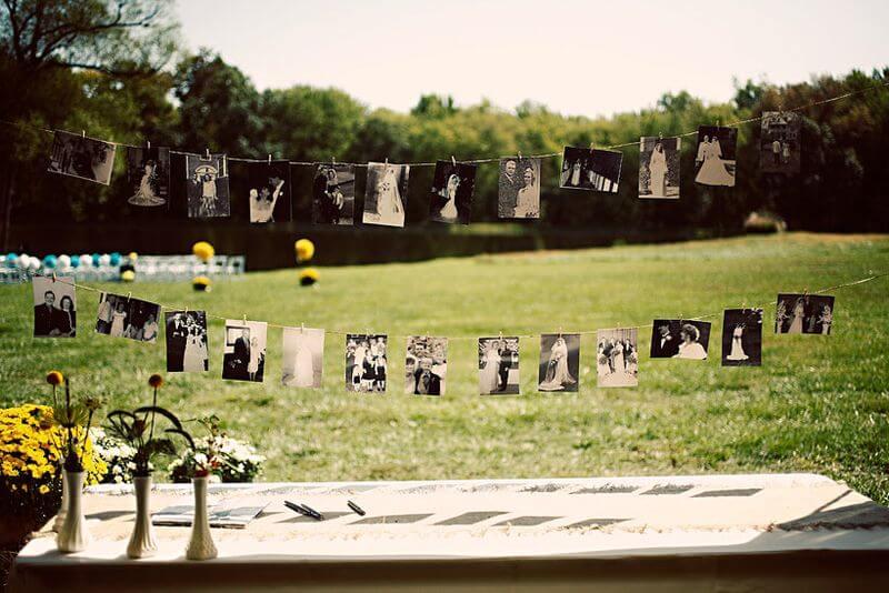 Varal de fotos para festa no campo