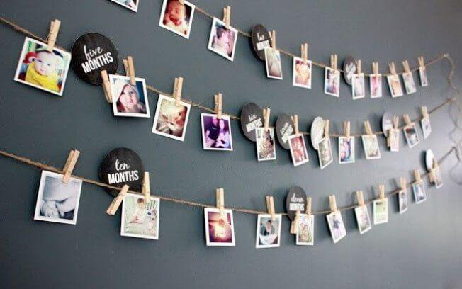 Varal de fotos para festa para quarto