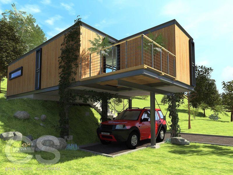 casa moderna sem telhado de campo com fachada de madeira