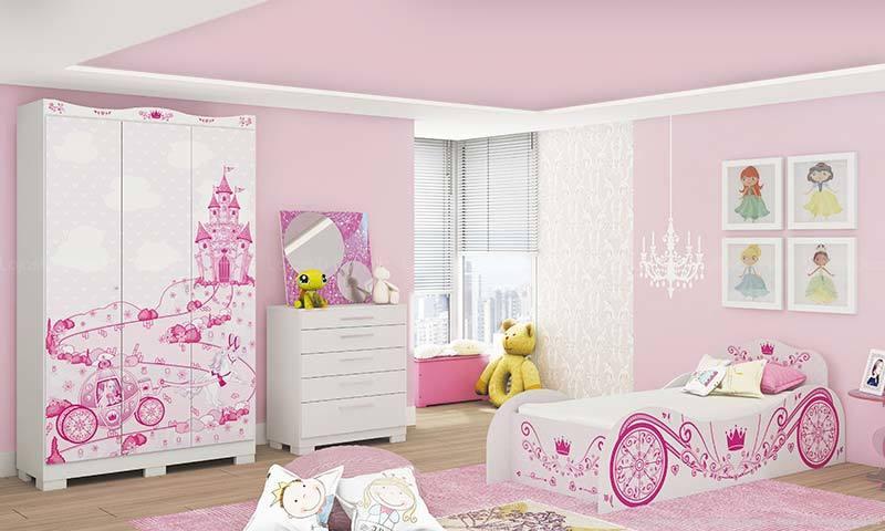 quarto feminin infantil com adesivo
