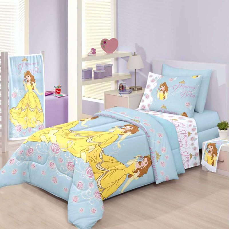 jogo de cama azul princesa bela
