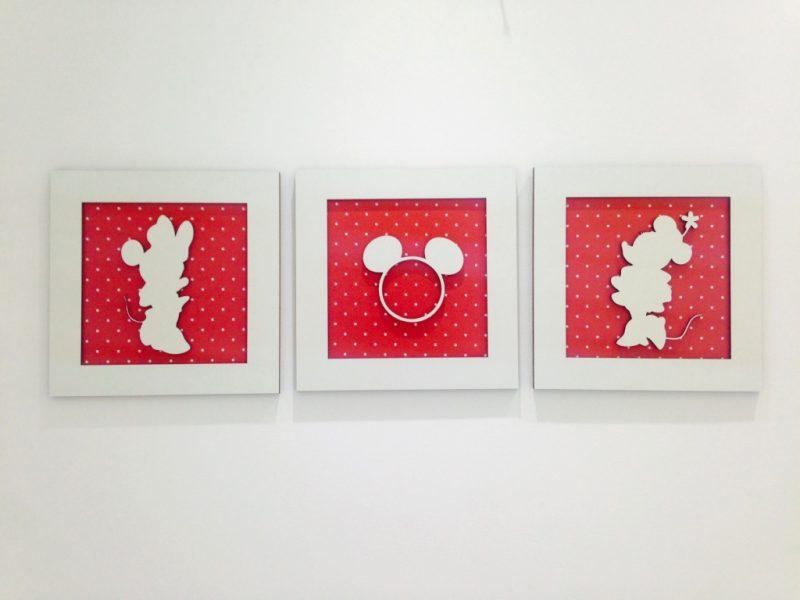 Trio de Quadros Vermelho da Minnie