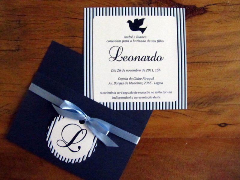 Convite para batizado azul