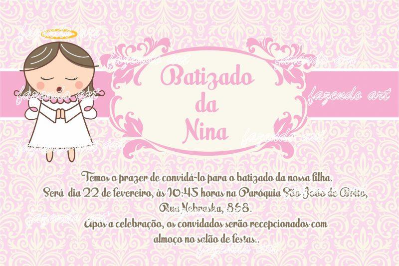 Convite para batizado rosa