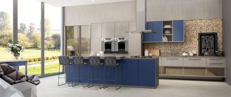 Bancada de Cozinha na cor Azul Marinho