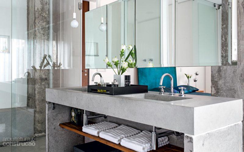 Bancada de Cimento Queimado em Banheiro