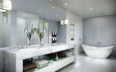 Banheiro com bancada em mármore