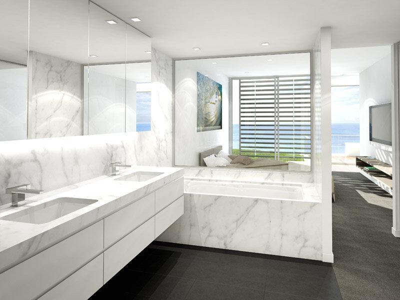 Banheiro de mármore branco
