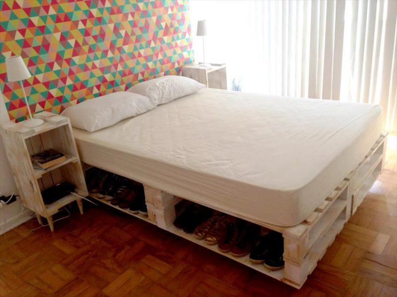 cama de casal de pallets