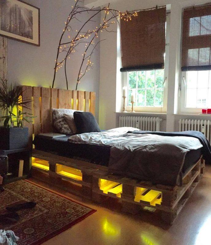 Cama de pallet com iluminação led