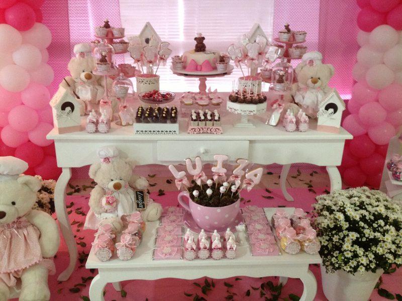Decoração de Ursinho para Chá de Meninas