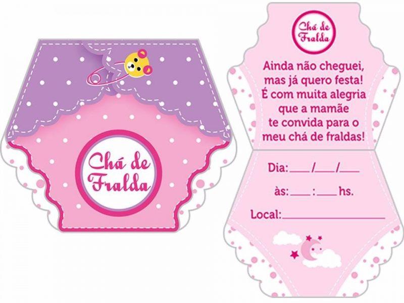 Convite Chá de Fraldas Feminino
