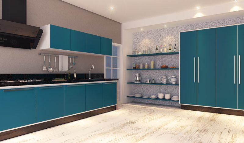 Cozinha na Cor Azul Tiffany