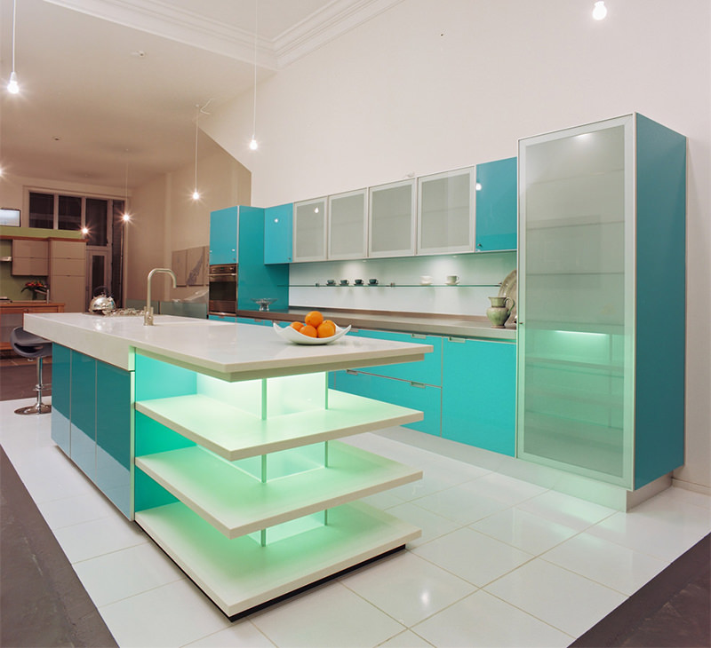Cozinha Decorada com Tons de Azul