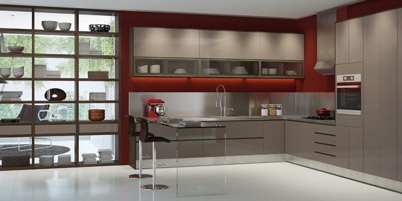 Cozinha decorada em vermelho e fendi