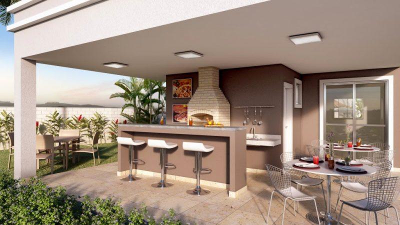 Espaço Gourmet com churrasqueira, forno e ilha