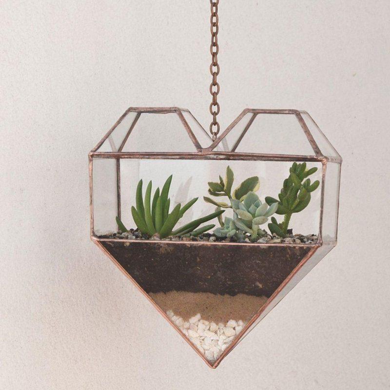 Terrário pendente de vidro