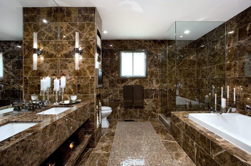 Pia de banheiro em granito marrom