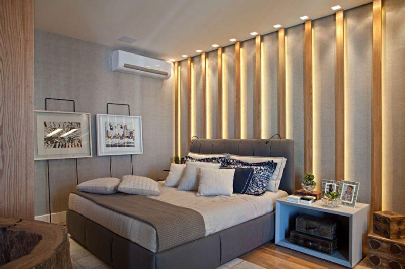 Belo quarto de casal decorado com iluminação em Spots
