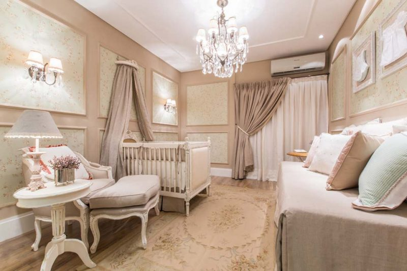 Decoração de quarto de bebê na cor Fendi