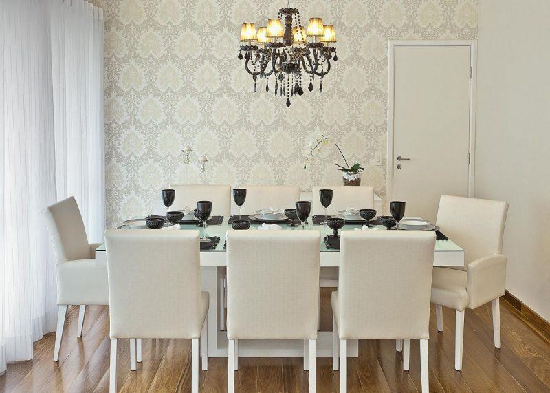 papel de parede em sala de jantar