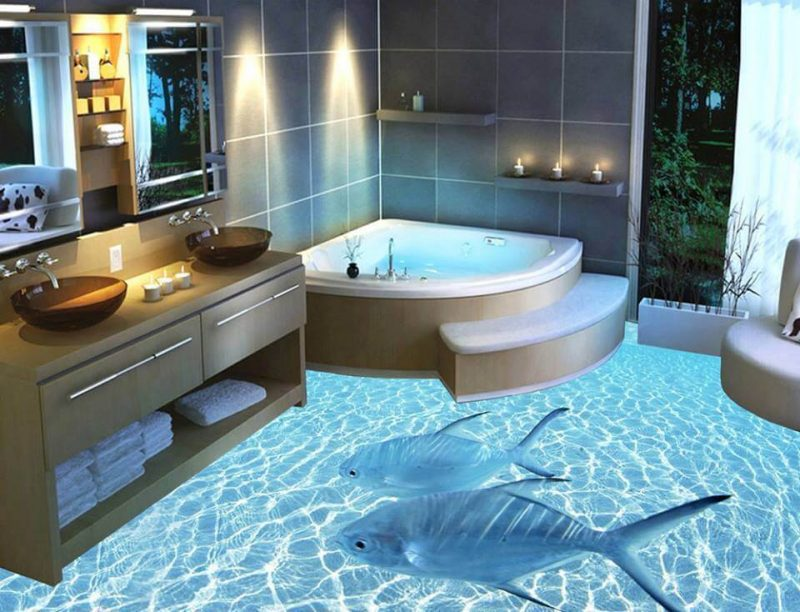 Porcelanato 3D no banheiro