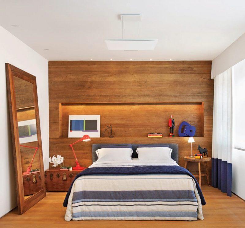 Ambiente decorado com Piso e Painel de madeira