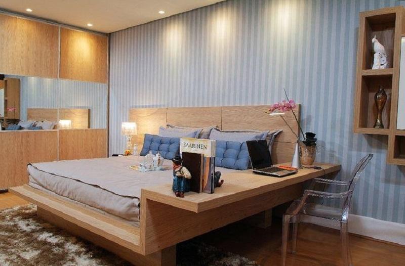 As paredes listradas também são uma dica para dar mais espaço ao ambiente