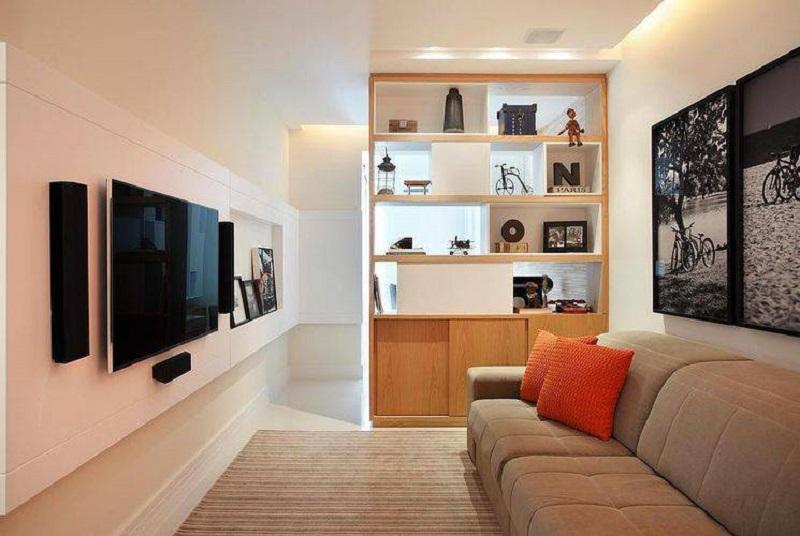 Sofás retráteis são perfeitos na decoração de sala pequena, pois otimizam o espaço