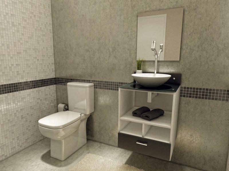 Banheiro Cinza Decorado com Faixas