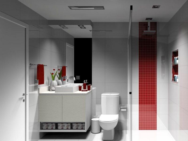 Simples Banheiro com Faixa Horizontal no Box