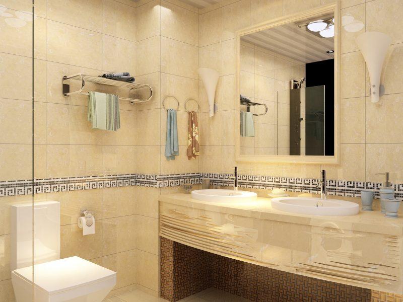 Decoração de banheiro com faixa.