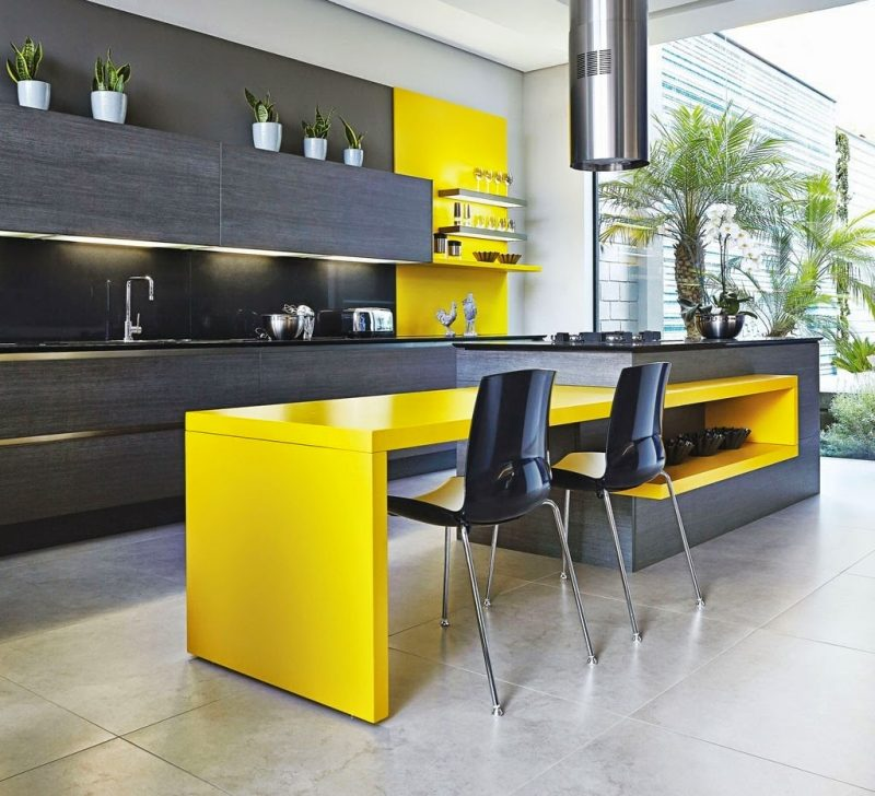 New Home Designs Latest Ultra Modern Kitchen Designs Ideas: COZINHA AMARELA → 50+ IDEIAS: Com Branco, Preto, Cinza, Marrom