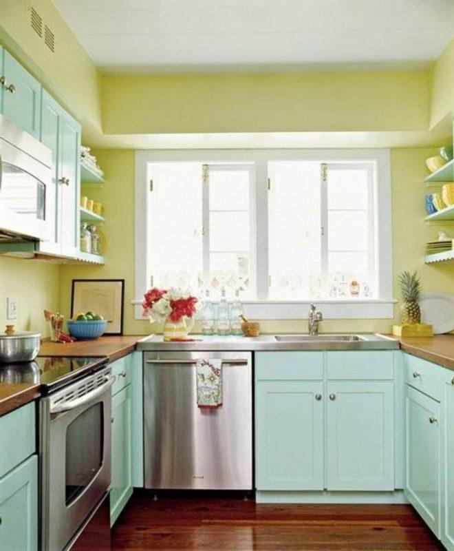 cozinha com parede amarelo claro