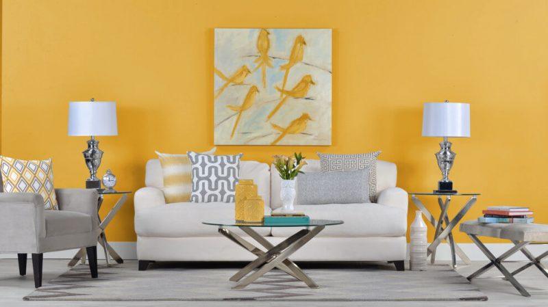 Decoração de Sala de Estar - Parede Amarela