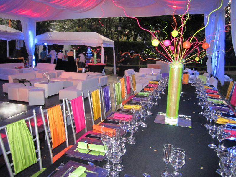 festa neon decoração