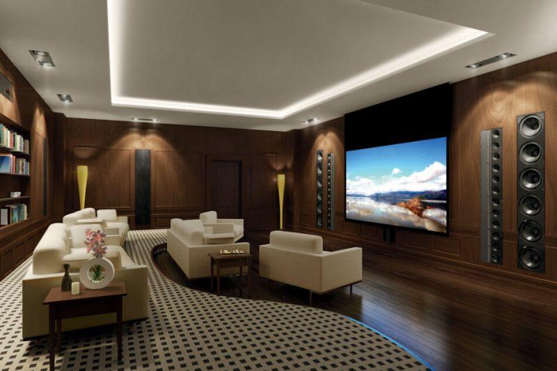 sala de cinema particular residencial com home theater