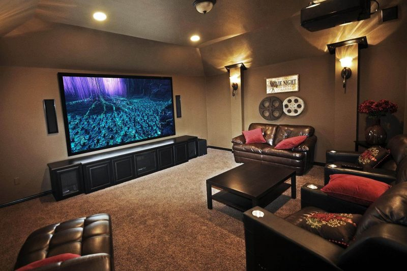 Home Theater em sala de cinema residencial