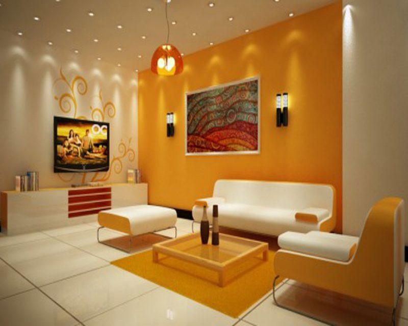 parede amarela na sala