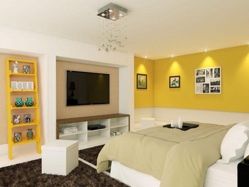 Decoração de quarto branco e amarelo