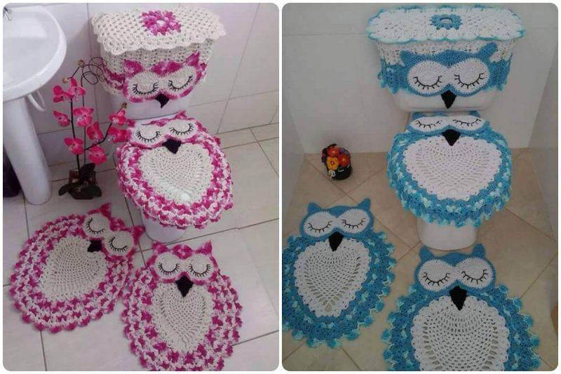 conjunto de banheiro de coruja de crochê