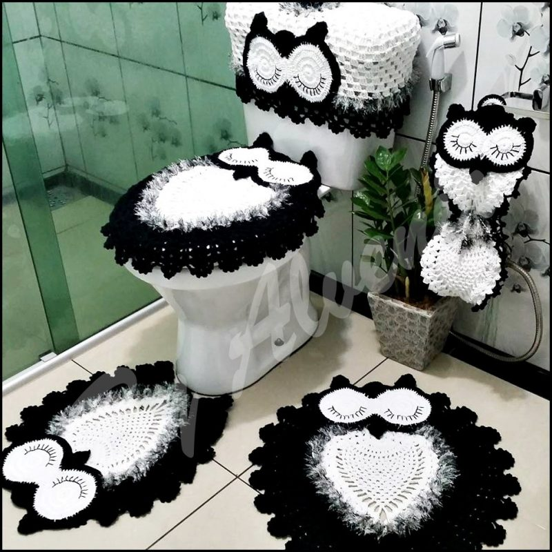 conjunto de banheiro de crochê de coruja
