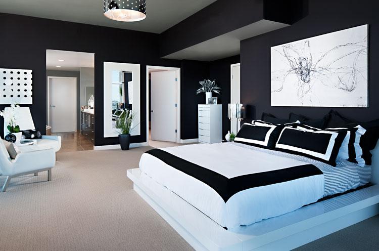 decoração quarto preto e branco
