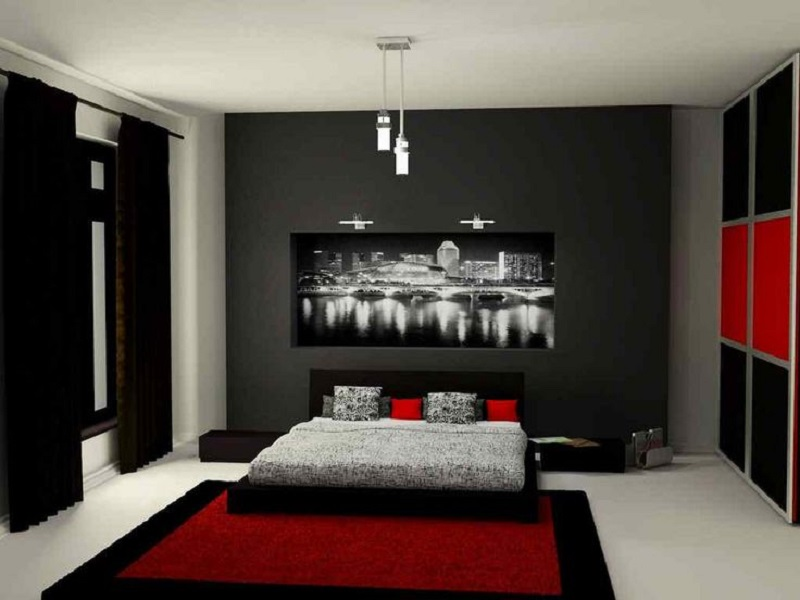 Quarto preto decora o preto e branco cinza e mais for Red and black themed living room